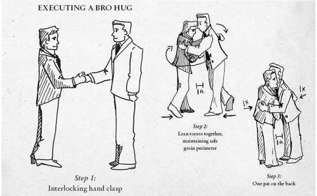When interacting with the press, remember the bro hug rules.